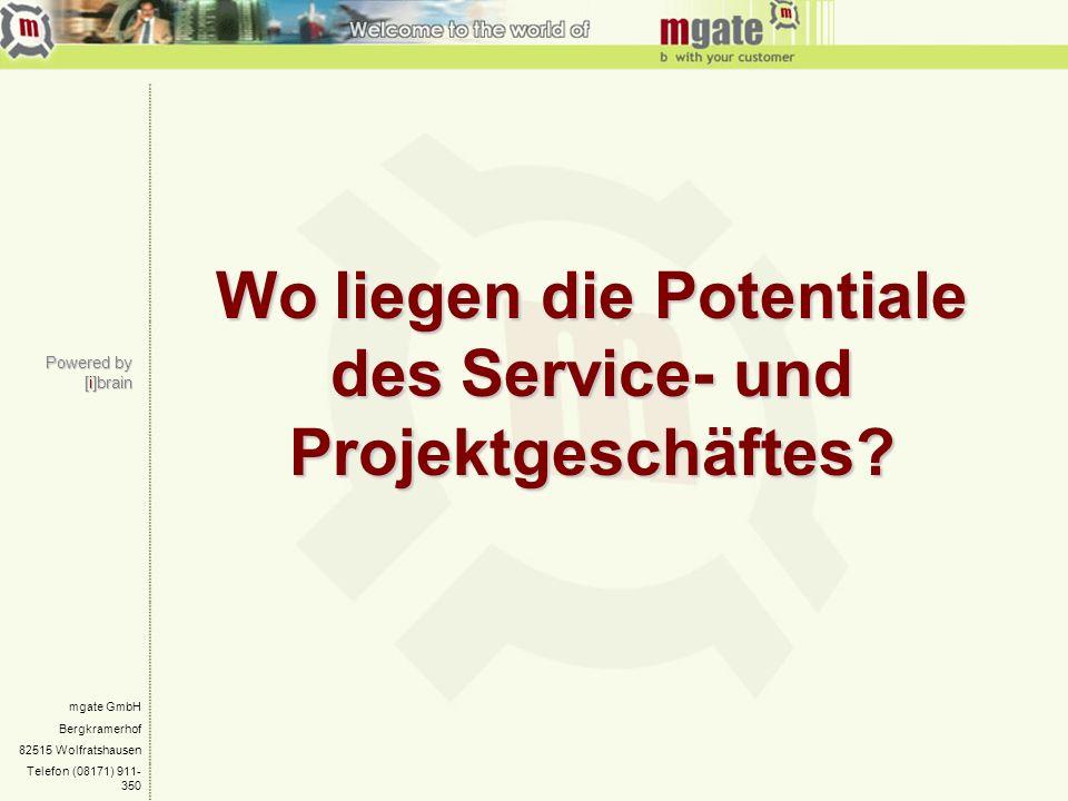 mgate GmbH Bergkramerhof 82515 Wolfratshausen Telefon (08171) 911- 350 Wo liegen die Potentiale des Service- und Projektgeschäftes? Powered by [i]brai