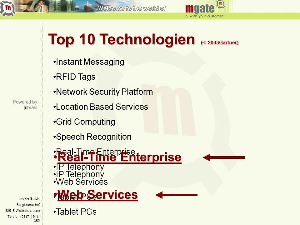 mgate GmbH Bergkramerhof 82515 Wolfratshausen Telefon (08171) 911- 350 Top 10 Technologien (© 2003Gartner) Powered by [i]brain Instant Messaging RFID