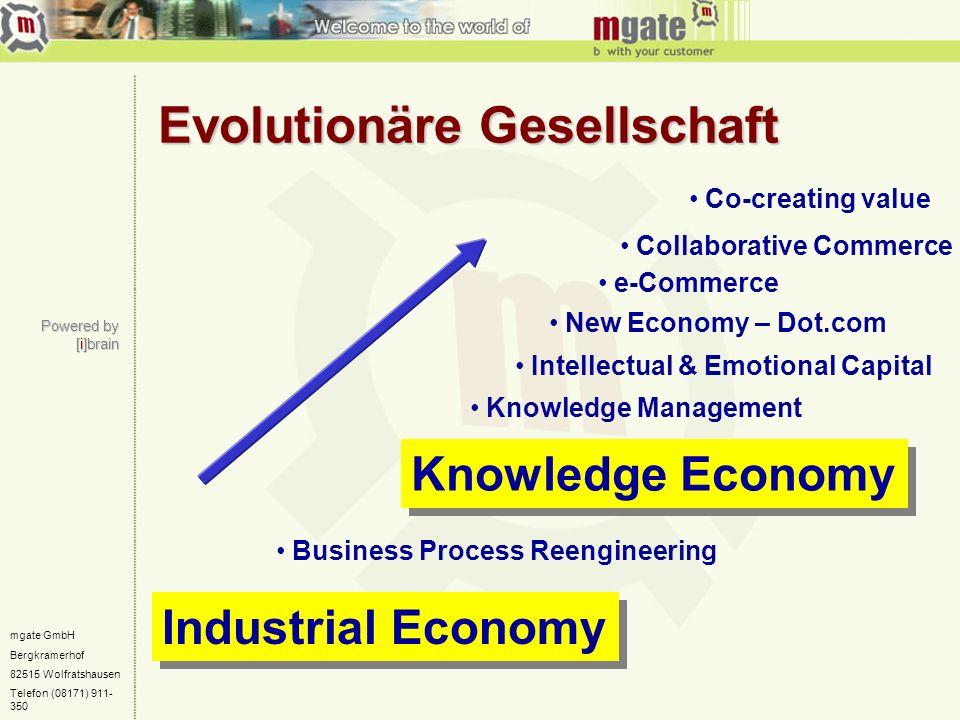 mgate GmbH Bergkramerhof 82515 Wolfratshausen Telefon (08171) 911- 350 Evolutionäre Gesellschaft Industrial Economy Knowledge Economy Knowledge Manage