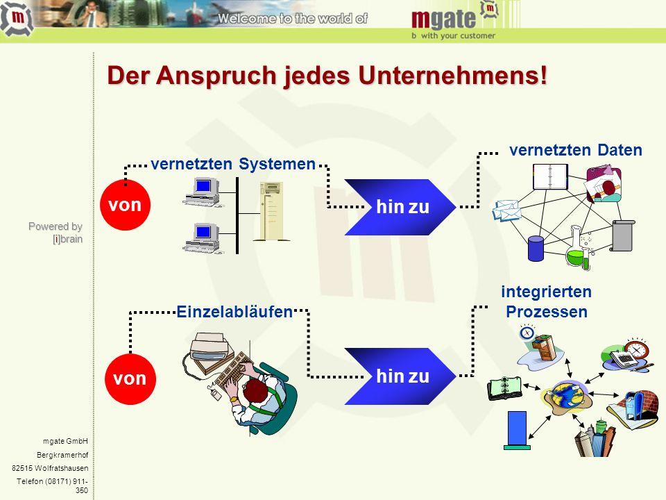mgate GmbH Bergkramerhof 82515 Wolfratshausen Telefon (08171) 911- 350 Der Anspruch jedes Unternehmens! vernetzten Systemen vernetzten Daten integrier