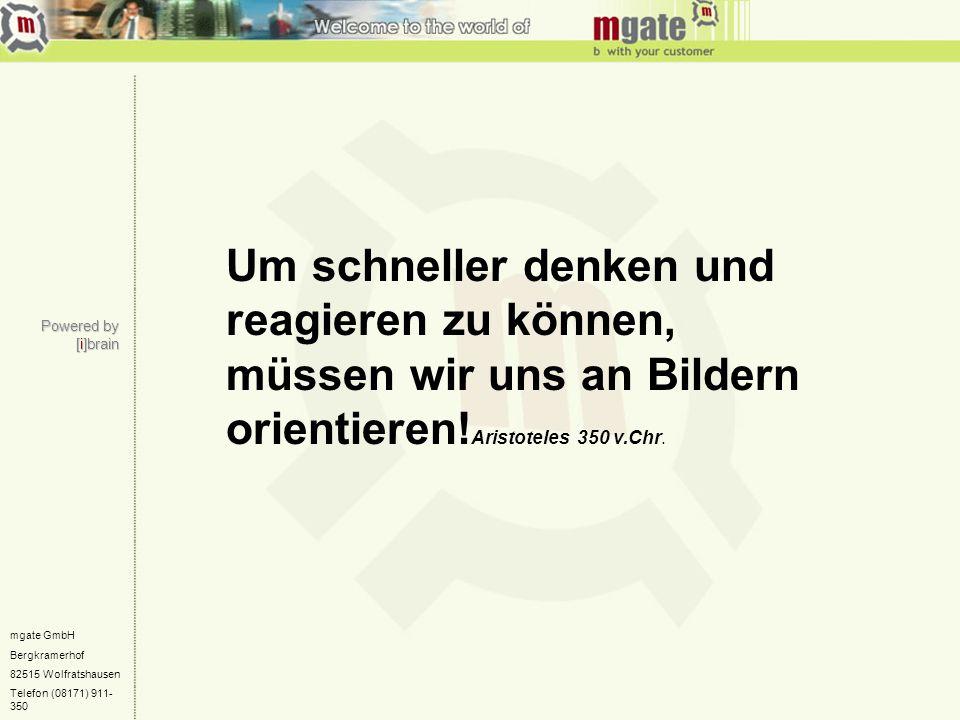 mgate GmbH Bergkramerhof 82515 Wolfratshausen Telefon (08171) 911- 350 Um schneller denken und reagieren zu können, müssen wir uns an Bildern orientie