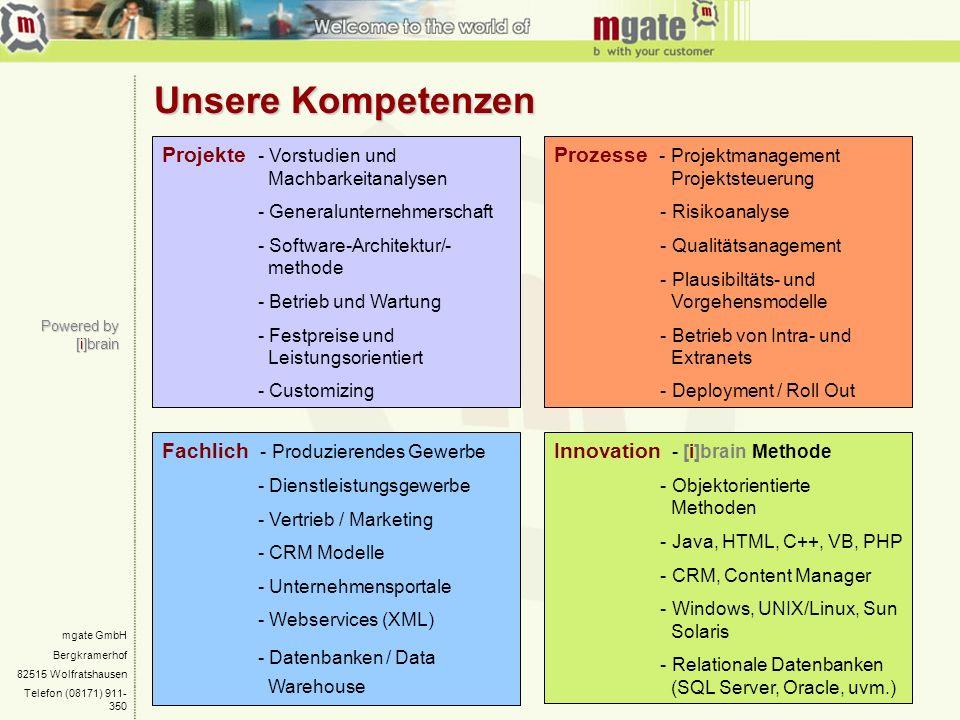 mgate GmbH Bergkramerhof 82515 Wolfratshausen Telefon (08171) 911- 350 Powered by [i]brain Unsere Kompetenzen Projekte - Vorstudien und Machbarkeitana