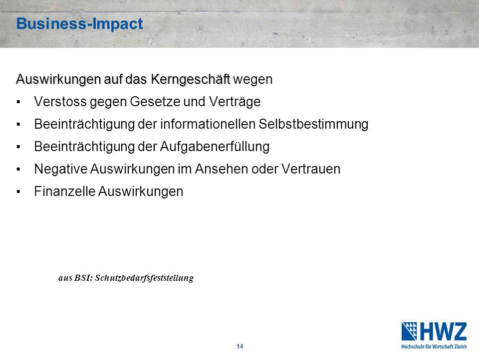 14 Business-Impact Auswirkungen auf das Kerngeschäft Auswirkungen auf das Kerngeschäft wegen Verstoss gegen Gesetze und Verträge Beeinträchtigung der