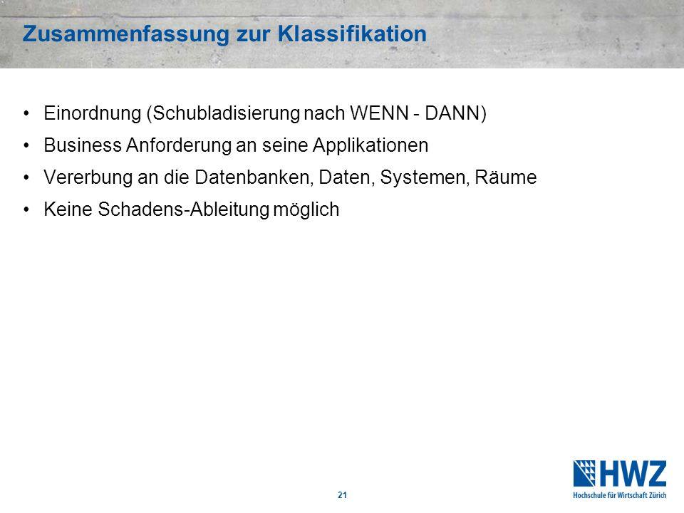 Zusammenfassung zur Klassifikation Einordnung (Schubladisierung nach WENN - DANN) Business Anforderung an seine Applikationen Vererbung an die Datenba