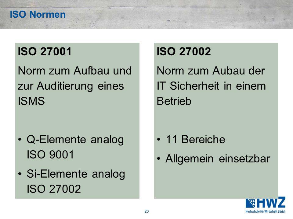 ISO Normen ISO 27001 Norm zum Aufbau und zur Auditierung eines ISMS Q-Elemente analog ISO 9001 Si-Elemente analog ISO 27002 ISO 27002 Norm zum Aubau d