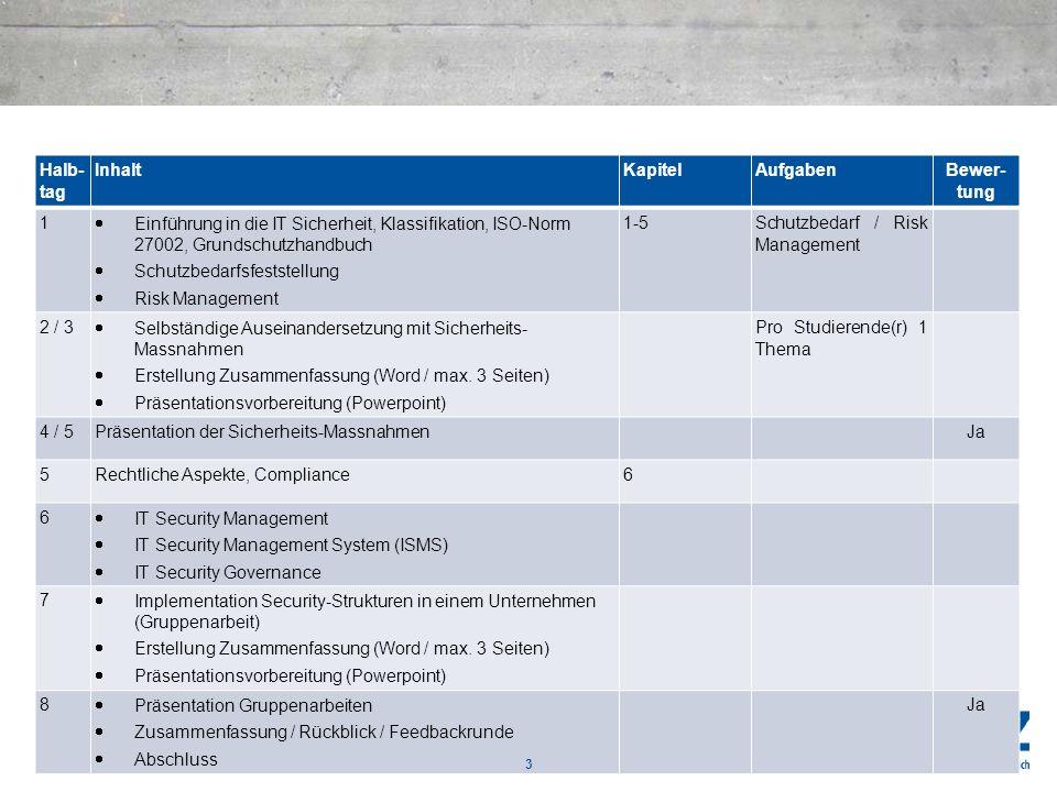 Halb- tag InhaltKapitelAufgaben Bewer- tung 1 Einführung in die IT Sicherheit, Klassifikation, ISO-Norm 27002, Grundschutzhandbuch Schutzbedarfsfestst