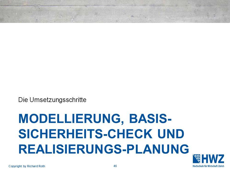 MODELLIERUNG, BASIS- SICHERHEITS-CHECK UND REALISIERUNGS-PLANUNG Die Umsetzungsschritte 46 Copyright by Richard Roth