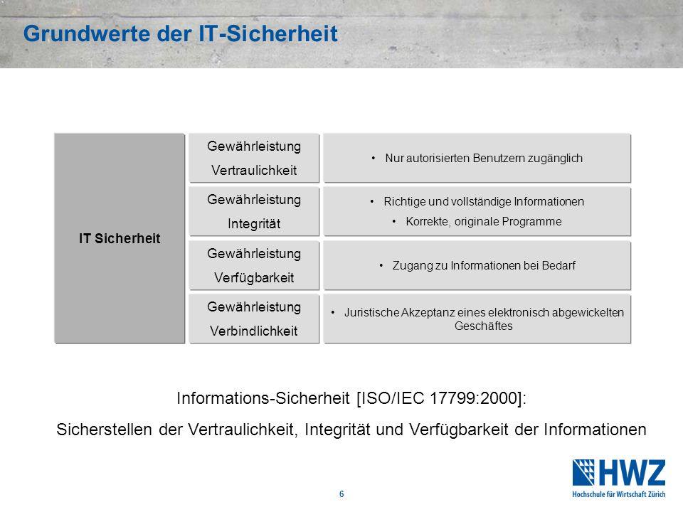 6 Grundwerte der IT-Sicherheit Informations-Sicherheit [ISO/IEC 17799:2000]: Sicherstellen der Vertraulichkeit, Integrität und Verfügbarkeit der Infor