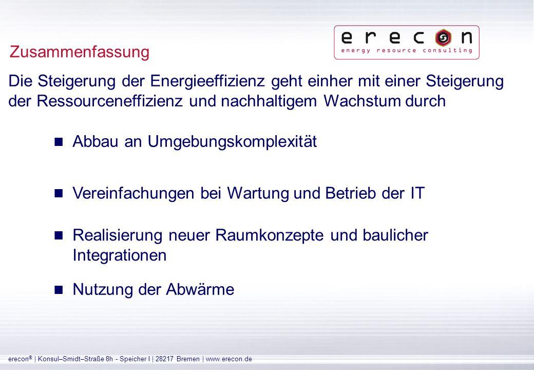 erecon ® | Konsul–Smidt–Straße 8h - Speicher I | 28217 Bremen | www.erecon.de Umweltschutz, der auch wirtschaftlich überzeugt Früher Return-of-Invest Übernahme von umweltpolitischer Verantwortung Förderprogramme zur Steigerung der Energieeffizienz Zusammenfassung