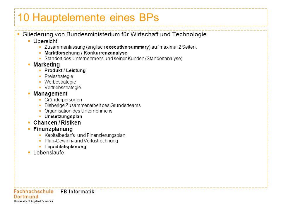 10 Hauptelemente eines BPs Gliederung von Bundesministerium für Wirtschaft und Technologie Übersicht Zusammenfassung (englisch executive summary) auf maximal 2 Seiten.
