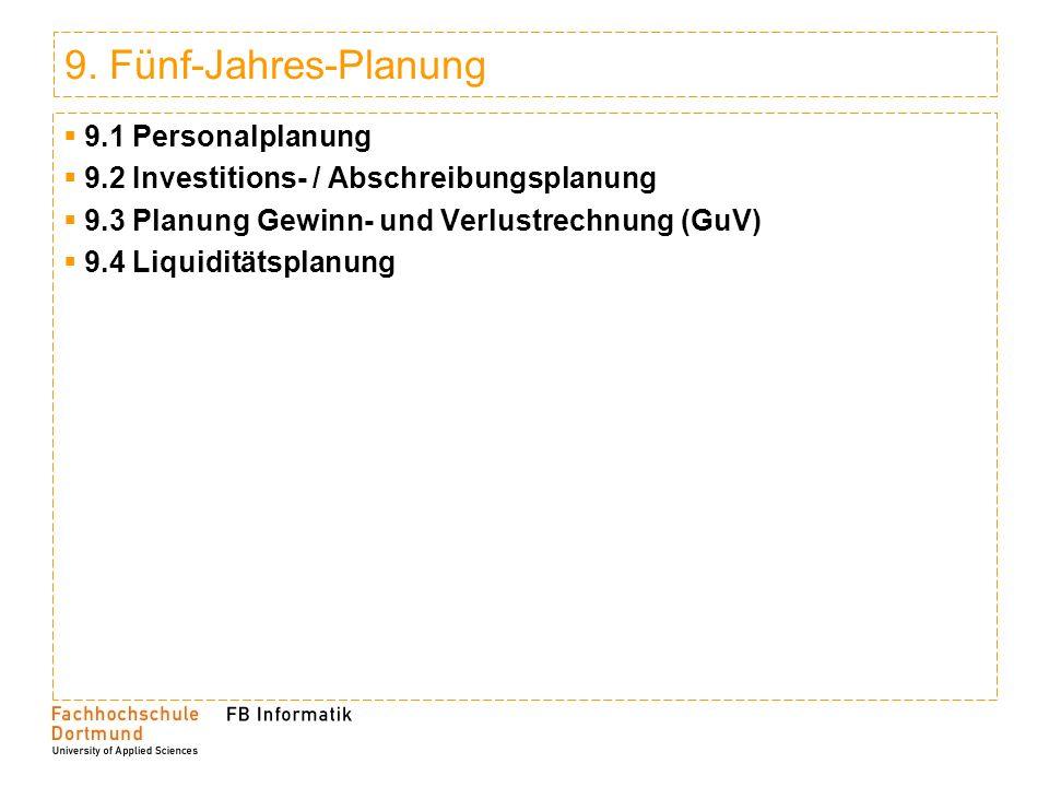 9. Fünf-Jahres-Planung 9.1 Personalplanung 9.2 Investitions- / Abschreibungsplanung 9.3 Planung Gewinn- und Verlustrechnung (GuV) 9.4 Liquiditätsplanu