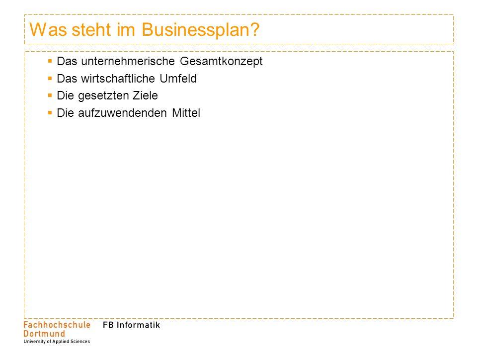 Was steht im Businessplan.