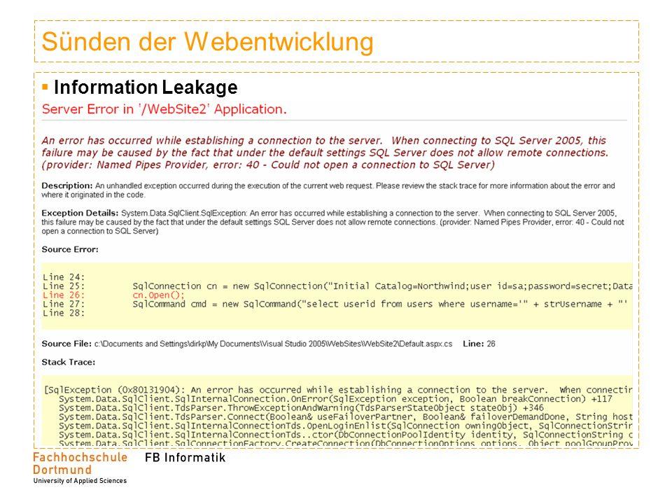 Sünden der Webentwicklung Information Leakage