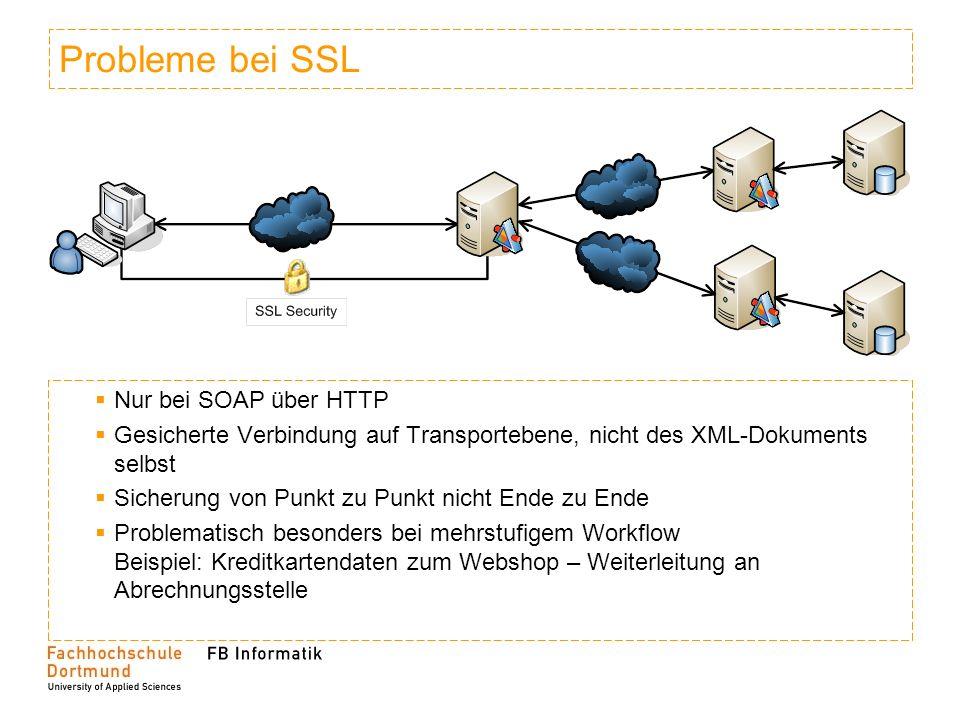 Probleme bei SSL Nur bei SOAP über HTTP Gesicherte Verbindung auf Transportebene, nicht des XML-Dokuments selbst Sicherung von Punkt zu Punkt nicht En