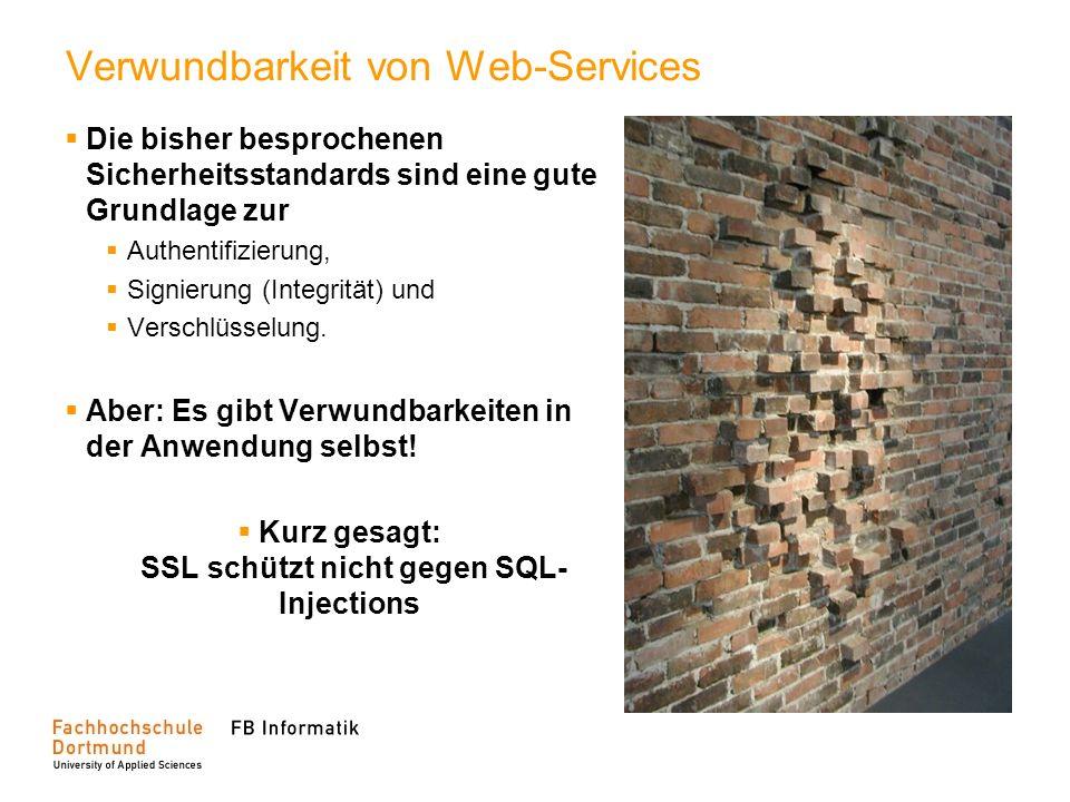 Verwundbarkeit von Web-Services Die bisher besprochenen Sicherheitsstandards sind eine gute Grundlage zur Authentifizierung, Signierung (Integrität) u