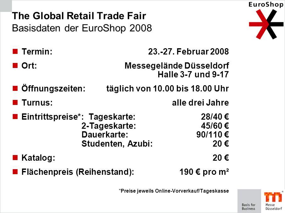 The Global Retail Trade Fair Basisdaten der EuroShop 2008 Termin:23.-27. Februar 2008 Ort:Messegelände Düsseldorf Halle 3-7 und 9-17 Öffnungszeiten:tä