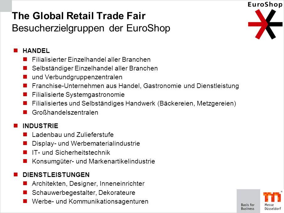 The Global Retail Trade Fair Besucherzielgruppen der EuroShop HANDEL Filialisierter Einzelhandel aller Branchen Selbständiger Einzelhandel aller Branc