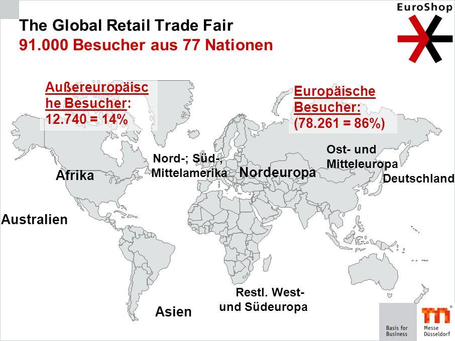 The Global Retail Trade Fair 91.000 Besucher aus 77 Nationen Europäische Besucher: (78.261 = 86%) Nord-; Süd-, Mittelamerika Asien Afrika Australien A