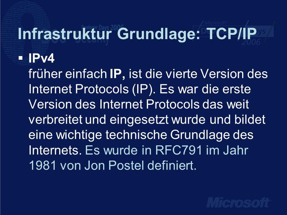 Infrastruktur Grundlage: TCP/IP IPv4 früher einfach IP, ist die vierte Version des Internet Protocols (IP).