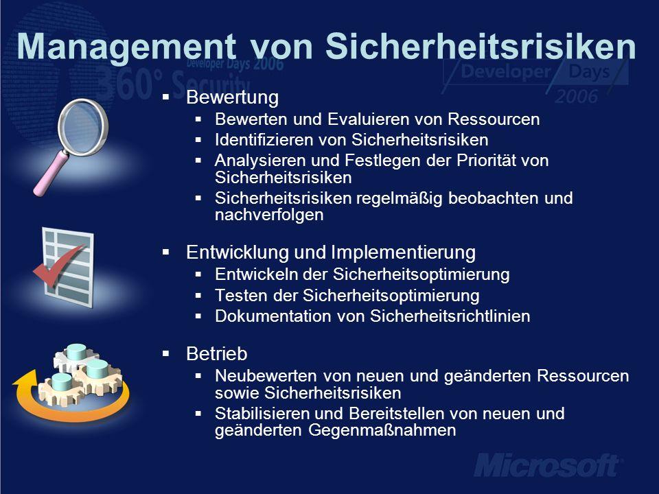 Management von Sicherheitsrisiken Bewertung Bewerten und Evaluieren von Ressourcen Identifizieren von Sicherheitsrisiken Analysieren und Festlegen der Priorität von Sicherheitsrisiken Sicherheitsrisiken regelmäßig beobachten und nachverfolgen Entwicklung und Implementierung Entwickeln der Sicherheitsoptimierung Testen der Sicherheitsoptimierung Dokumentation von Sicherheitsrichtlinien Betrieb Neubewerten von neuen und geänderten Ressourcen sowie Sicherheitsrisiken Stabilisieren und Bereitstellen von neuen und geänderten Gegenmaßnahmen