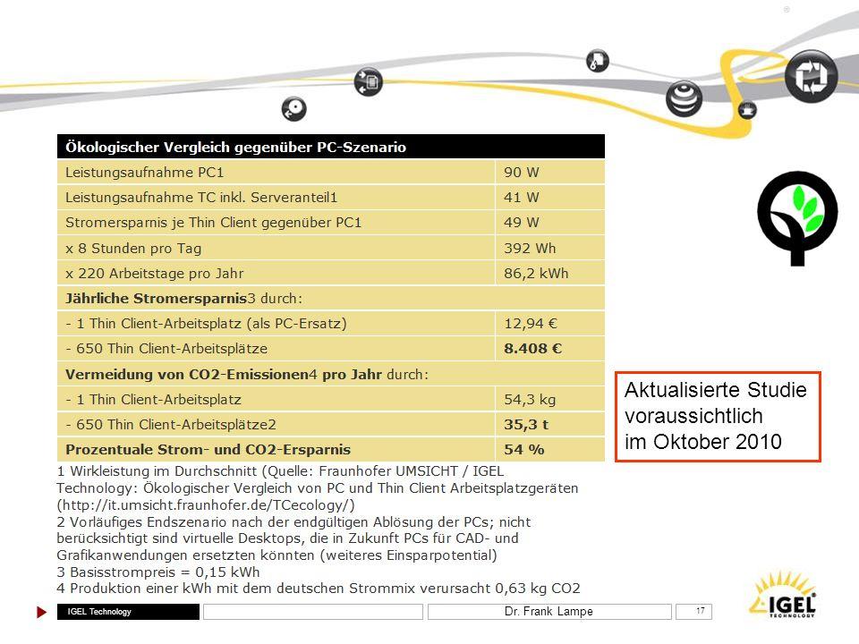 IGEL Technology ® Dr. Frank Lampe 17 Aktualisierte Studie voraussichtlich im Oktober 2010