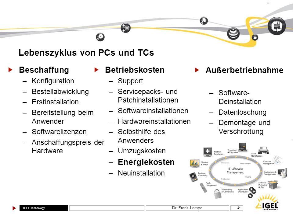 IGEL Technology ® Dr. Frank Lampe 24 Lebenszyklus von PCs und TCs Betriebskosten –Support –Servicepacks- und Patchinstallationen –Softwareinstallation