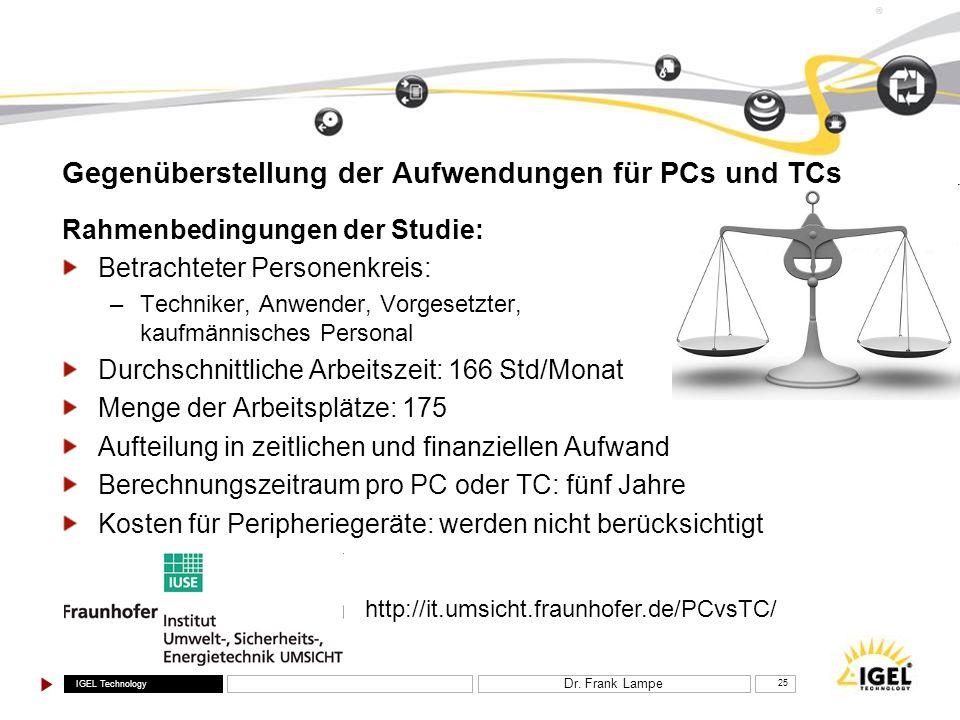 IGEL Technology ® Dr. Frank Lampe 25 Gegenüberstellung der Aufwendungen für PCs und TCs Rahmenbedingungen der Studie: Betrachteter Personenkreis: –Tec