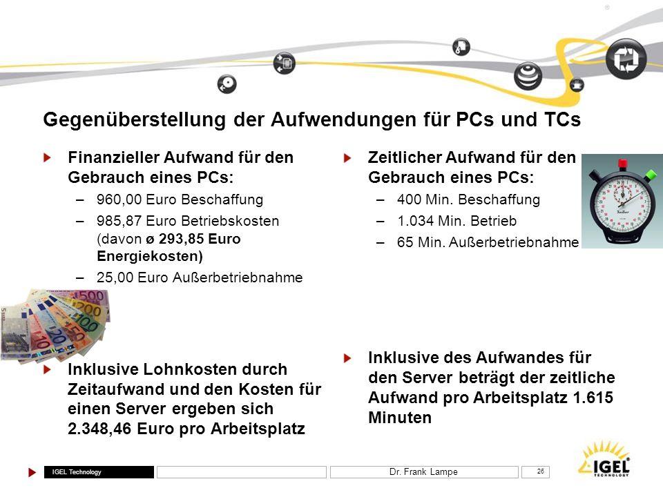 IGEL Technology ® Dr. Frank Lampe 26 Gegenüberstellung der Aufwendungen für PCs und TCs Finanzieller Aufwand für den Gebrauch eines PCs: –960,00 Euro
