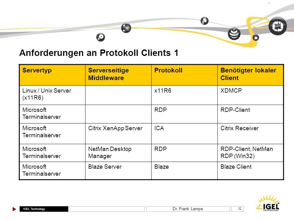 IGEL Technology ® Dr. Frank Lampe 32 Anforderungen an Protokoll Clients 1 ServertypServerseitige Middleware ProtokollBenötigter lokaler Client Linux /