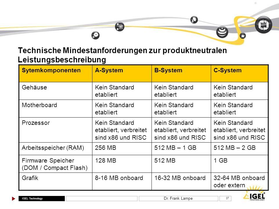 IGEL Technology ® Dr. Frank Lampe 37 Technische Mindestanforderungen zur produktneutralen Leistungsbeschreibung SytemkomponentenA-SystemB-SystemC-Syst