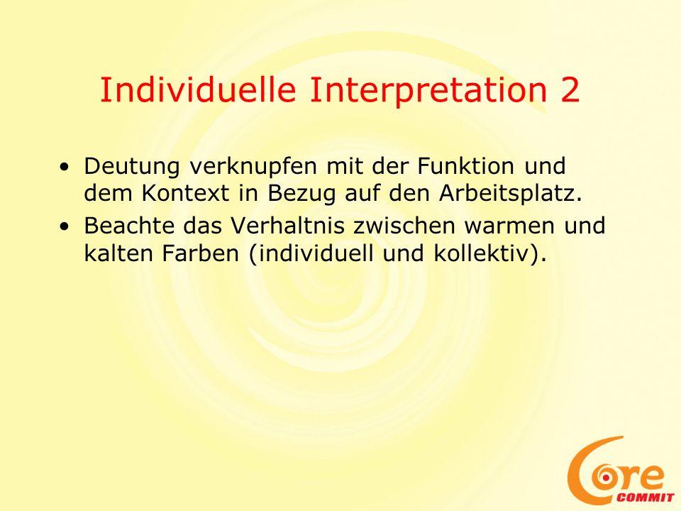 Individuelle Interpretation 2 Deutung verknupfen mit der Funktion und dem Kontext in Bezug auf den Arbeitsplatz. Beachte das Verhaltnis zwischen warme