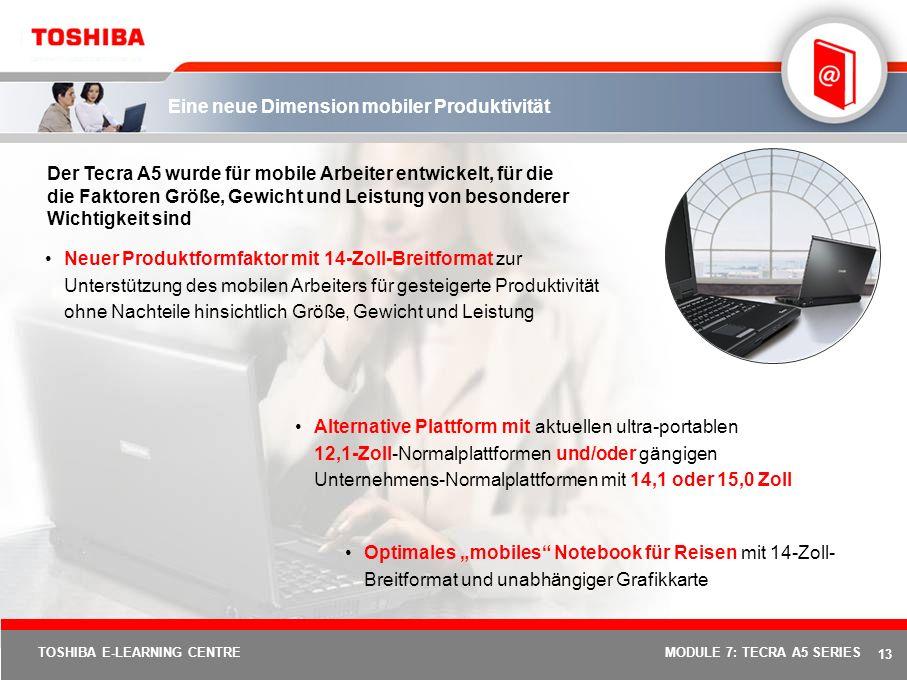 12 TOSHIBA E-LEARNING CENTREMODULE 7: TECRA A5 SERIES Robustes Design Was ist Durable Design? Toshibas Entwicklungs-, Produktions- und Serviceaktivitä