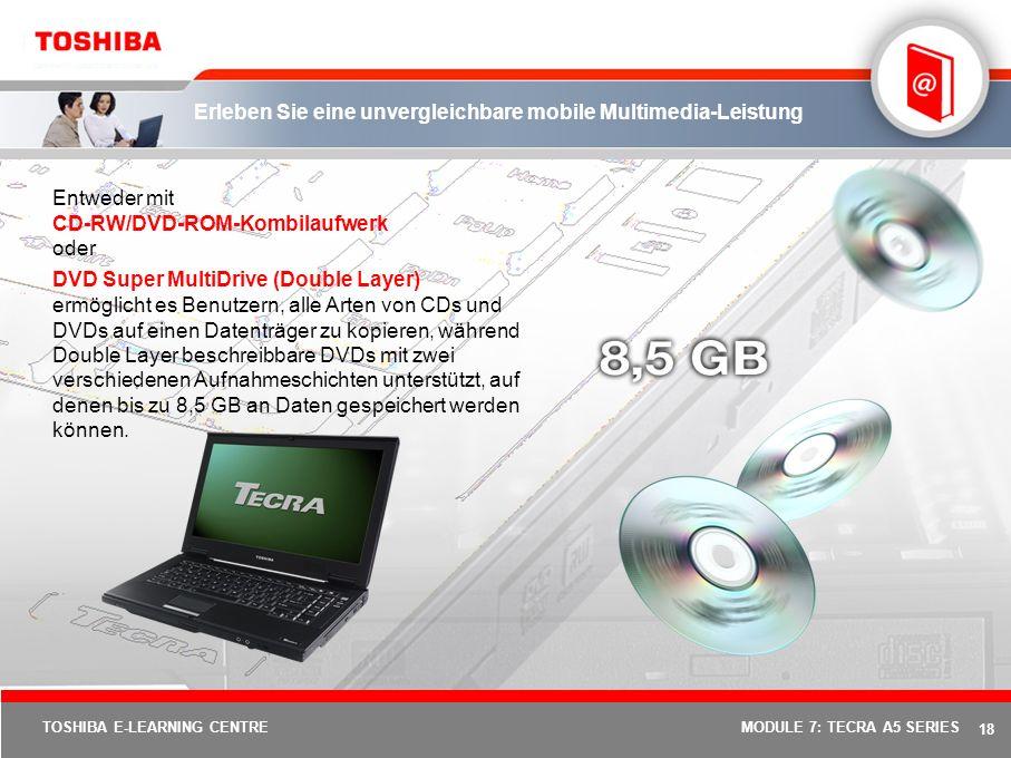 17 TOSHIBA E-LEARNING CENTREMODULE 7: TECRA A5 SERIES Erleben Sie die verbesserte Grafikleistung HyperMemory von ATI ist eine Technologie, die es einem PC ermöglicht, Systemspeicher für die Grafikverarbeitung in Anspruch zu nehmen.