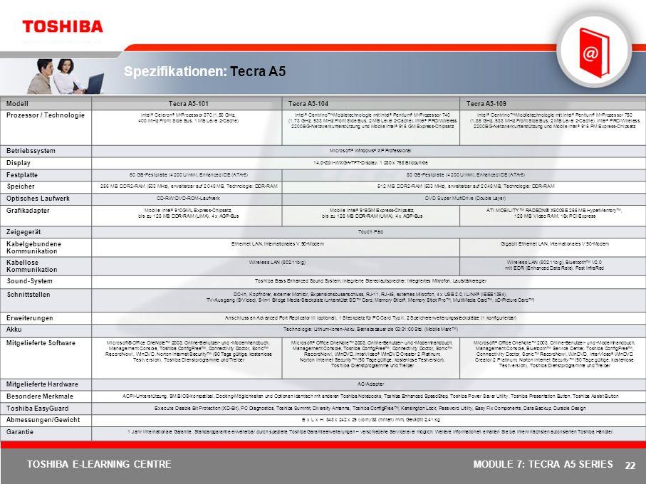 21 TOSHIBA E-LEARNING CENTREMODULE 7: TECRA A5 SERIES Bis zu fünf verschiedene Anschlussmöglichkeiten Integriertes duales Wireless LAN 802.11b/g mit Dual-Modus Bluetooth V2.0 mit EDR (Enhanced Data Rate) (nur bei bestimmten Modellen) 10/100/1000 Ethernet LAN- Schnittstelle bzw.