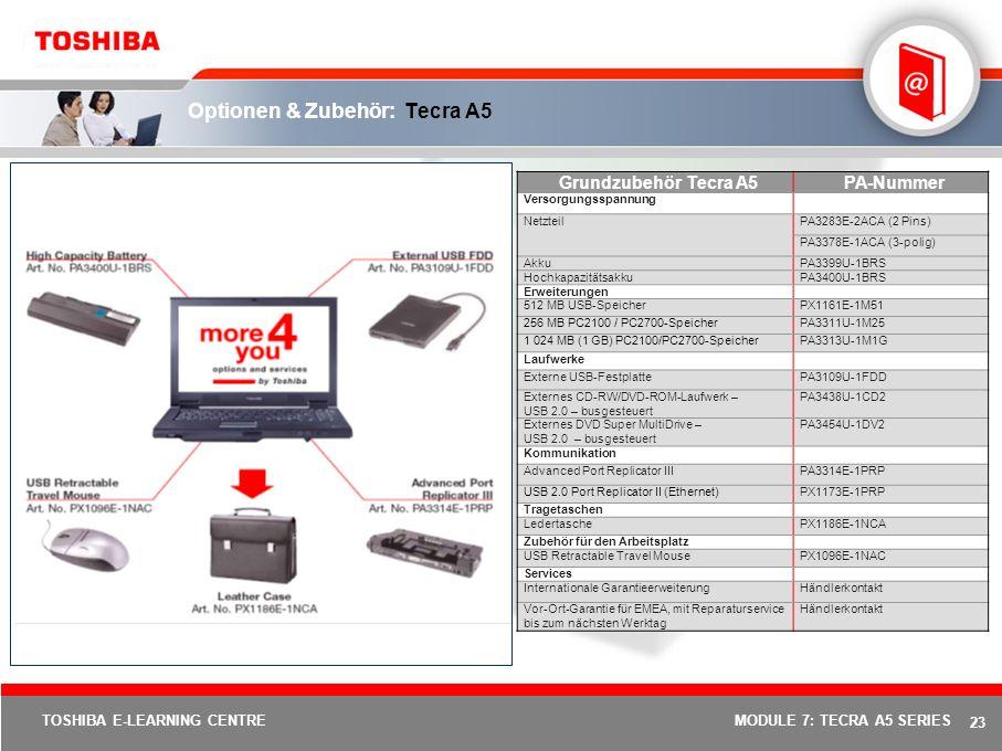 22 TOSHIBA E-LEARNING CENTREMODULE 7: TECRA A5 SERIES Spezifikationen: Tecra A5 ModellTecra A5-101Tecra A5-104Tecra A5-109 Prozessor / Technologie Intel ® Celeron ® M-Prozessor 370 (1,50 GHz, 400 MHz Front Side Bus, 1 MB Level 2-Cache) Intel ® Centrino-Mobiletechnologie mit Intel ® Pentium ® M-Prozessor 740 (1,73 GHz, 533 MHz Front Side Bus, 2 MB Level 2-Cache), Intel ® PRO/Wireless 2200BG-Netzwerkunterstützung und Mobile Intel ® 915 GM Express-Chipsatz Intel ® Centrino-Mobiletechnologie mit Intel ® Pentium ® M-Prozessor 750 (1,86 GHz, 533 MHz Front Side Bus, 2 MB Level 2-Cache), Intel ® PRO/Wireless 2200BG-Netzwerkunterstützung und Mobile Intel ® 915 PM Express-Chipsatz Betriebssystem Microsoft ® Windows ® XP Professional Display 14,0-Zoll-WXGA-TFT-Display, 1 280 x 768 Bildpunkte Festplatte 60 GB-Festplatte (4 200 U/min), Enhanced IDE (ATA-6)80 GB-Festplatte (4 200 U/min), Enhanced IDE (ATA-6) Speicher 256 MB DDR2-RAM (533 MHz), erweiterbar auf 2 048 MB, Technologie: DDR-RAM512 MB DDR2-RAM (533 MHz), erweiterbar auf 2 048 MB, Technologie: DDR-RAM Optisches Laufwerk CD-RW/DVD-ROM-LaufwerkDVD Super MultiDrive (Double Layer) Grafikadapter Mobile Intel ® 910GML Express-Chipsatz, bis zu 128 MB DDR-RAM (UMA), 4 x AGP-Bus Mobile Intel ® 915GM Express-Chipsatz, bis zu 128 MB DDR-RAM (UMA), 4 x AGP-Bus ATI MOBILITY RADEON® X600SE 256 MB HyperMemory, 128 MB Video RAM, 16x PCI Express Zeigegerät Touch Pad Kabelgebundene Kommunikation Ethernet LAN, internationales V.90-ModemGigabit Ethernet LAN, internationales V.90-Modem Kabellose Kommunikation Wireless LAN (802.11b/g)Wireless LAN (802.11b/g), Bluetooth V2.0 mit EDR (Enhanced Data Rate), Fast InfraRed Sound-System Toshiba Bass Enhanced Sound System, integrierte Stereolautsprecher, integriertes Mikrofon, Lautstärkeregler Schnittstellen DC-in, Kopfhörer, externer Monitor, Expansionsbusanschluss, RJ-11, RJ-45, externes Mikrofon, 4 x USB 2.0, i.LINK ® (IEEE1394), TV-Ausgang (S-Video), 5-in-1 Bridge Media-Steckplatz (unterstützt S