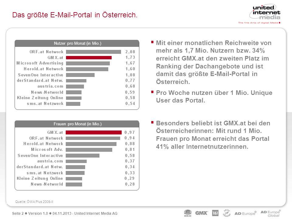 Seite 2 Version 1.0 04.11.2013 - United Internet Media AG Das größte E-Mail-Portal in Österreich. Mit einer monatlichen Reichweite von mehr als 1,7 Mi