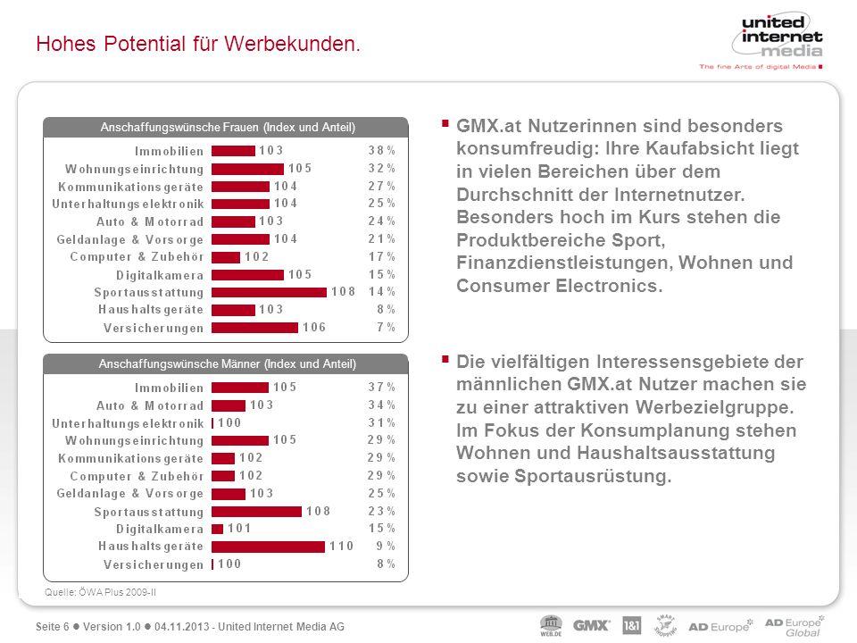 Seite 6 Version 1.0 04.11.2013 - United Internet Media AG Hohes Potential für Werbekunden. GMX.at Nutzerinnen sind besonders konsumfreudig: Ihre Kaufa