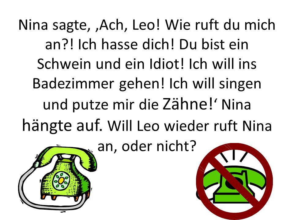 Nina sagte,,Ach, Leo! Wie ruft du mich an?! Ich hasse dich! Du bist ein Schwein und ein Idiot! Ich will ins Badezimmer gehen! Ich will singen und putz