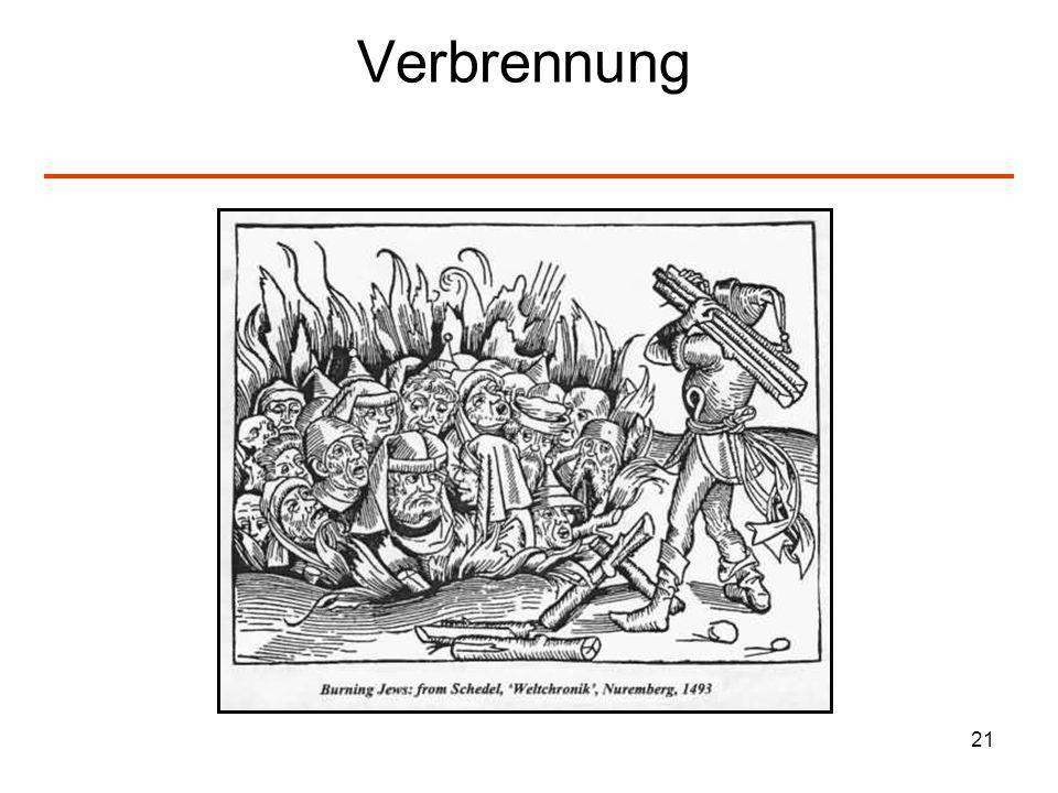 22 Kreuzzüge und Pest – Juden als Schuldige Mordwellen und Pogrome im Mittelalter I Beim ersten sogenannten Kreuzzug nach Palästina wurden unterwegs ca.