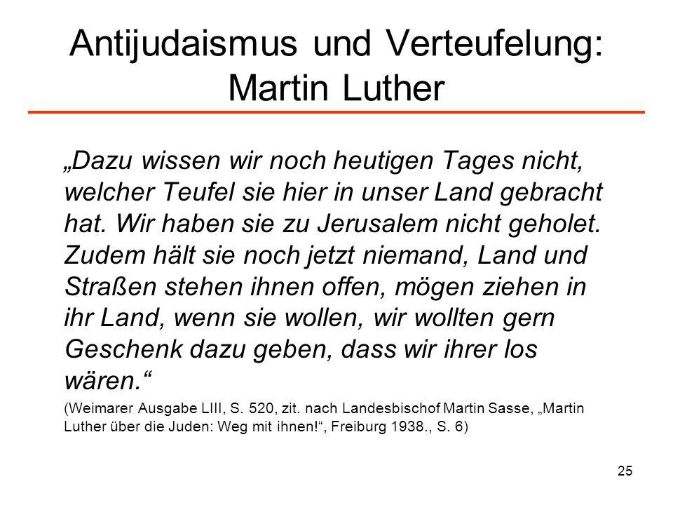 26 Luther nimmt 1543 Ma ß nahmen der Nationalsozialisten vorweg (I) Erstlich, dass man ihre Synagoga oder Schule mit Feuer anstecke… Zum anderen, dass man auch ihre Häuser des gleichen zerbreche… Dafür mag man sie unter ein Dach oder Stall tun, wie die Zigeuner Zum dritten, dass man ihnen nehme all ihre Betbüchlein und Thalmudisten….