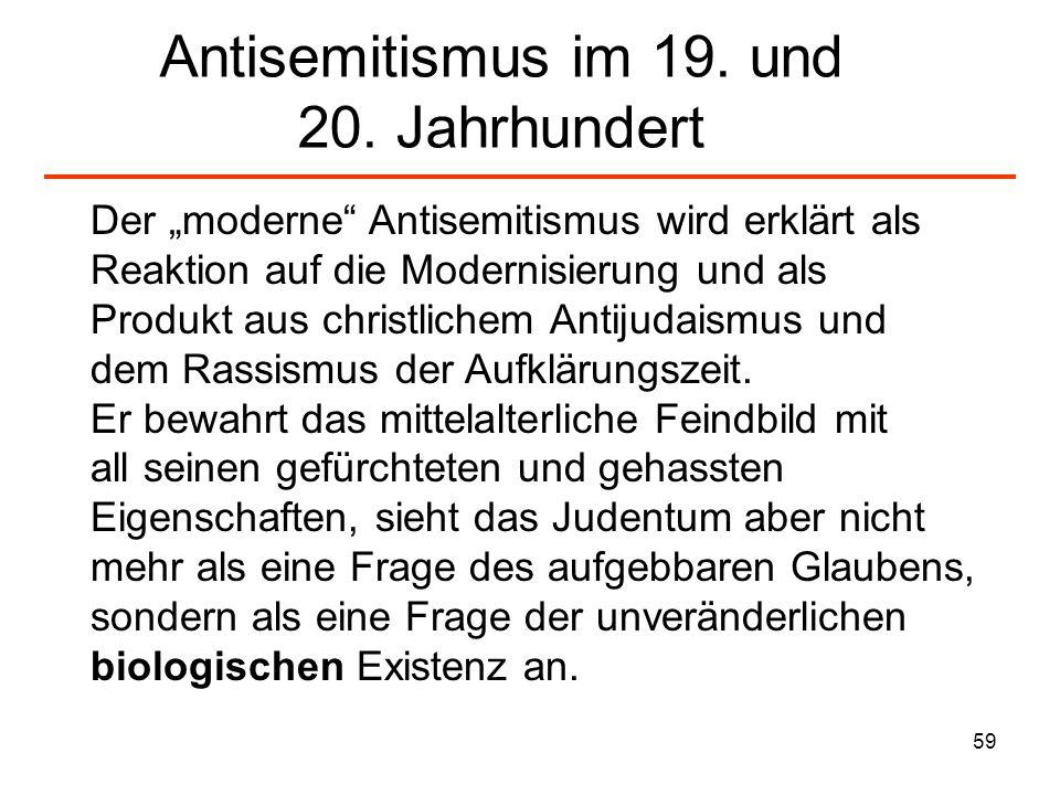 60 Aspekte des Antisemitismus (I) Das angebliche Wesen des Juden 1.Seine Sprache 2.Sein Aussehen 3.Seine Lebensform 4.Sein Erbgut machen ihn zum nur mit Insekten vergleichbaren, letztlich zu tötenden Zersetzer.