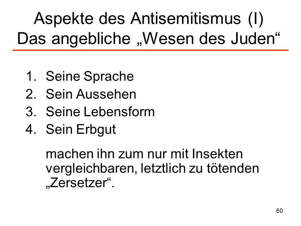 61 Aspekte des Antisemitismus (II) Ungeziefer...die, die diesen Juden das Wort reden, oder die zu feige sind, dies wuchernde Ungeziefer zu vertreten.