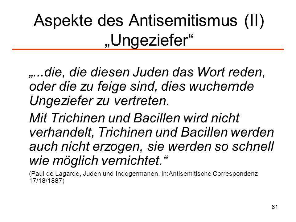 62 Aspekte des Antisemitismus (III) Der Zersetzer Zersetzung durch: 1.Armut/Gefährdung sozialer Ordnung 2.Reichtum/Kapitalismus 3.Sexualität 4.Geist