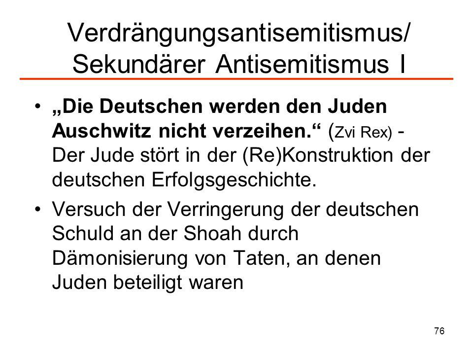 77 Verdrängungsantisemitismus/ Sekundärer Antisemitismus II Gleichsetzung von Handlungen des Staates Israel mit denen des NS-Regimes 2003 stimmen 51,2% aller Deutschen folgender Aussage zu: Was der Staat Israel heute mit den Palästinensern macht, ist im Prinzip auch nichts anderes als das, was die Nazis im Dritten Reich mit den Juden gemacht haben.