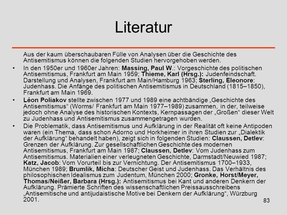 84 Literatur Im von Günther B.Ginzel herausgegebenen Sammelband Antisemitismus.