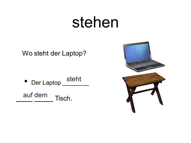 stehen Der Laptop Tisch. steht auf dem Wo steht der Laptop?