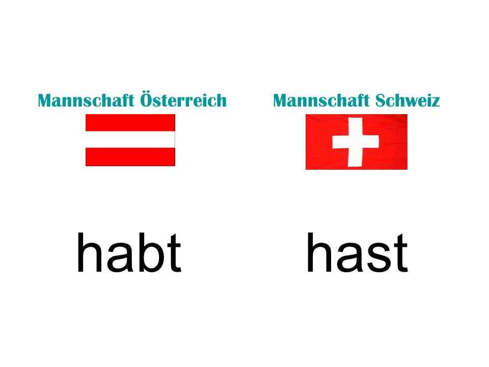 Mannschaft ÖsterreichMannschaft Schweiz habthast