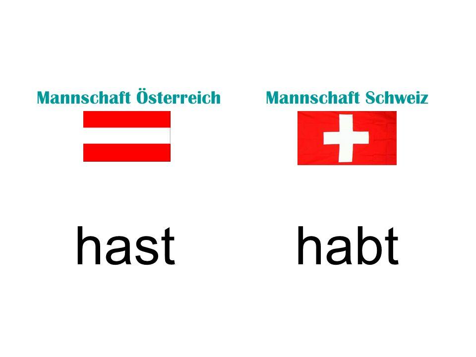 Mannschaft ÖsterreichMannschaft Schweiz hasthabt