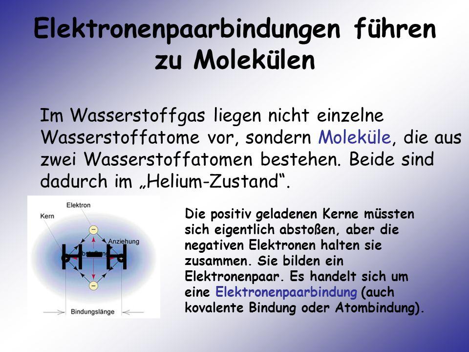 Elektronenpaarbindungen führen zu Molekülen Im Wasserstoffgas liegen nicht einzelne Wasserstoffatome vor, sondern Moleküle, die aus zwei Wasserstoffat