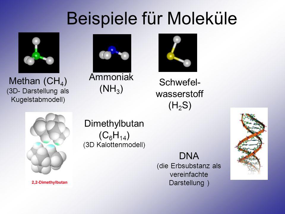 Beispiele für Moleküle Methan (CH 4 ) (3D- Darstellung als Kugelstabmodell) Ammoniak (NH 3 ) Schwefel- wasserstoff (H 2 S) Dimethylbutan (C 6 H 14 ) (